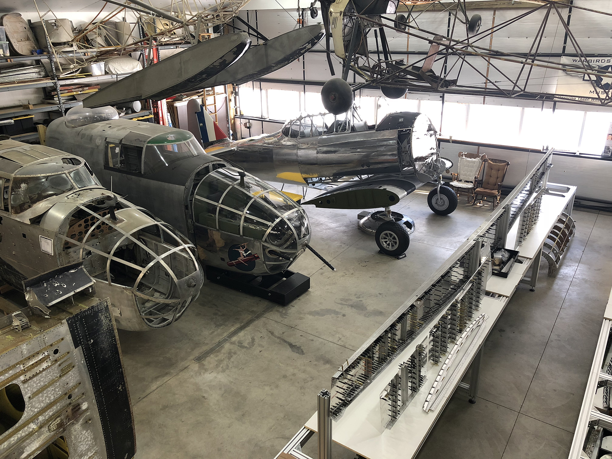 The hangar workshop area at the Warbirds of Glory Museum